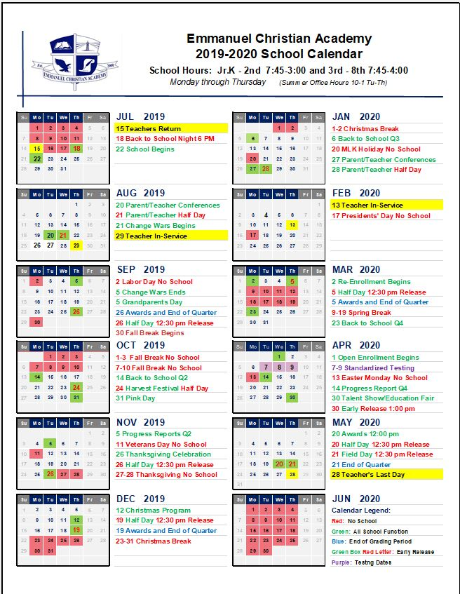 picture about Printable School Year Calendar named College Yr Calendar Emmanuel Christian A cademy